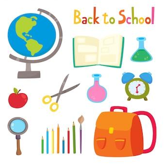 Powrót do szkoły zestaw przyborów szkolnych na białym na dzień nauczyciela i ucznia, ilustracja z plecakiem, ołówki, książki, kula ziemska, tuba, okulary, lupa, nożyczki.