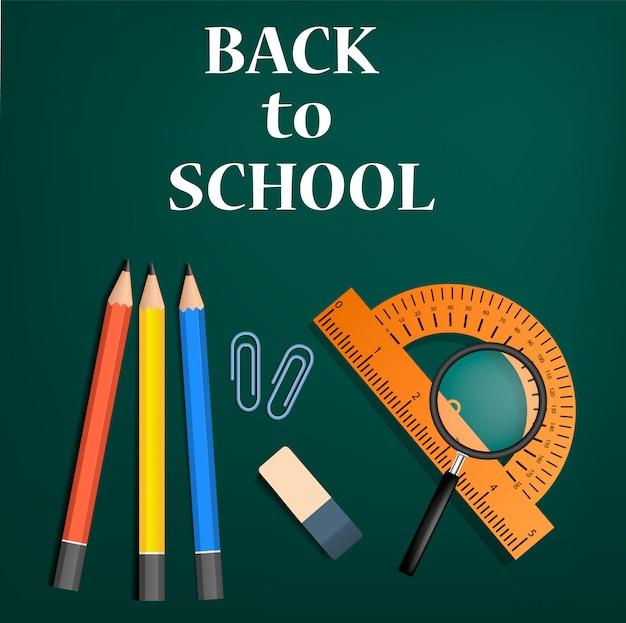 Powrót do szkoły zielone pojęcie, realistyczny styl