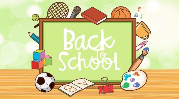 Powrót do szkoły znak z planszy i przedmiotów szkolnych
