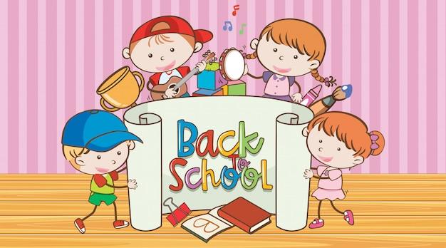 Powrót do szkoły znak z wielu szczęśliwych dzieci