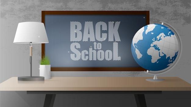 Powrót do sztandaru szkoły. czarna tablica, otwarta książka, drewniany stół w stylu loft, kula ziemska, lampa stołowa, doniczka z trawą, szara betonowa ściana. realistyczny styl.