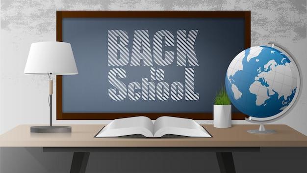 Powrót do sztandaru szkoły. zielona tablica, otwarta książka, drewniany stół w stylu loft, kula ziemska, lampa stołowa, doniczka z trawą, szara betonowa ściana. realistyczny styl