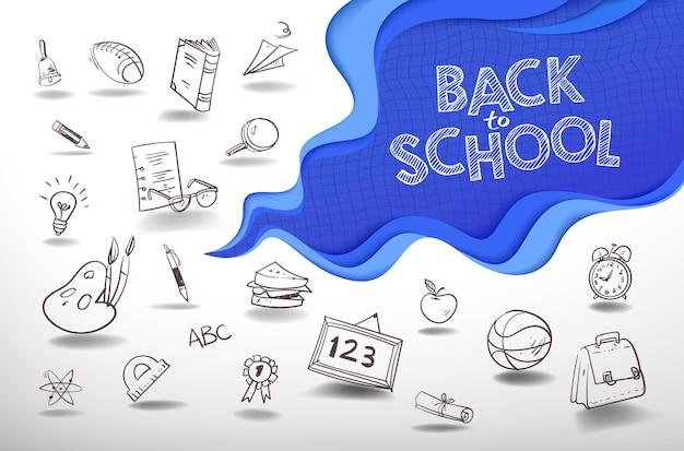 Powrót do tła szkolnego z wycięciem papieru i stylem doodle