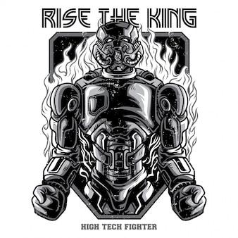 Powstanie króla czarno-biały ilustracja