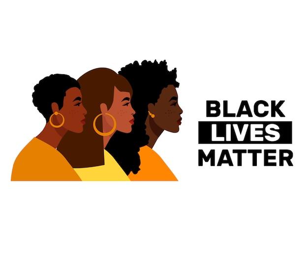 Powstrzymaj rasizm. czarne życie ma znaczenie, jesteśmy równi. płaski styl. kobiety, kolory skóry.