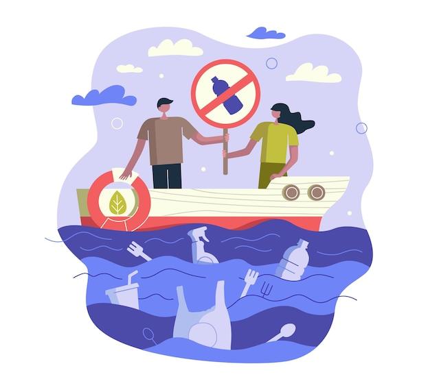 Powstrzymaj zanieczyszczenie oceanów plastikiem na statku ze śmieciami ze znakiem i kołem ratunkowym oraz odpadami nieulegającymi rozkładowi