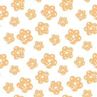 Powtarzać wzór z żółtymi kwiatami na białym tle. ręcznie rysowane tkaniny, opakowanie na prezent, projekt sztuki ściennej.ilustracja wektorowa