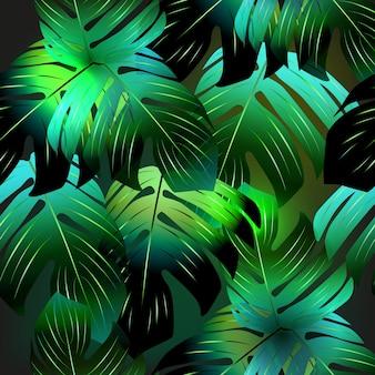 Powtarzająca się tekstura. styl boho. wzór z tropikalnymi liśćmi.