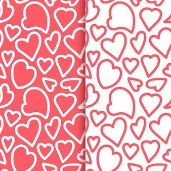 Powtarzające się kontury serc rysowane ręcznie. zestaw romantyczny wzór. niekończący się ładny nadruk. dziewczęca ilustracja