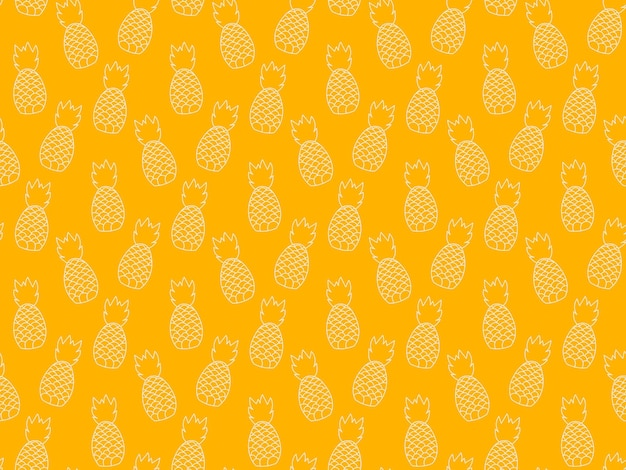 Powtarzalny wzór roślin ananasa. owocowy wzór tropikalny. streszczenie minimalistyczne nowoczesne tapety. ilustracja wektorowa tło. żółty i biały.