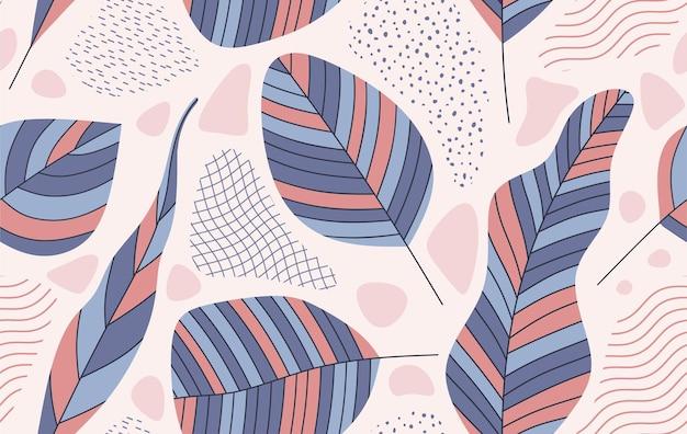 Powtarzalny wzór z abstrakcyjnymi kształtami liści