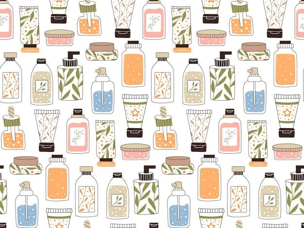Powtarzalny wzór z kosmetykami. zestaw butelek i tubek, słoiczków do pielęgnacji skóry z kremem do twarzy, włosów i ciała. styl mody na pocztówkę, baner, szablon do papieru do pakowania. wektor.