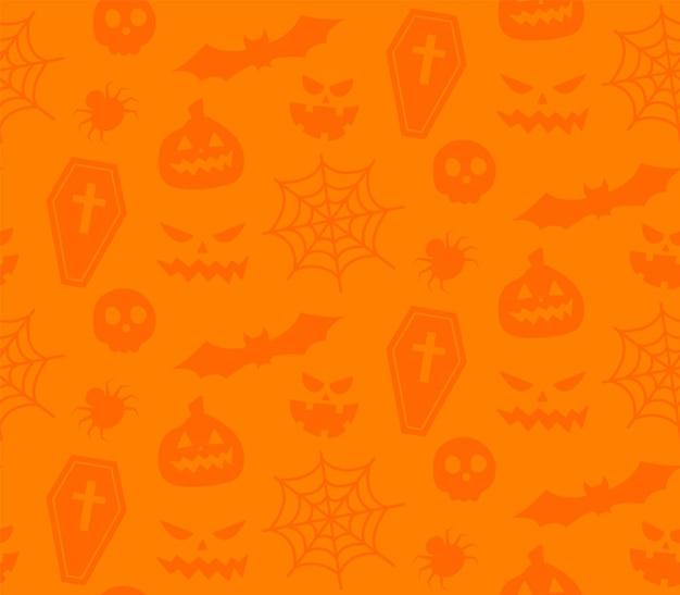 Powtarzalny wzór z symbolami halloween. projektowanie sylwetek na wakacje halloween. na pocztówkę, tkaninę, baner, szablon, papier do pakowania. płaskie ilustracji wektorowych.
