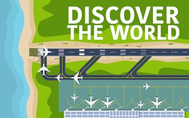 Powyżej widok z góry na pas startowy lotniska