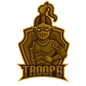 Poza akcja wojownika, ilustracja wektorowa logo maskotki e-sportowej