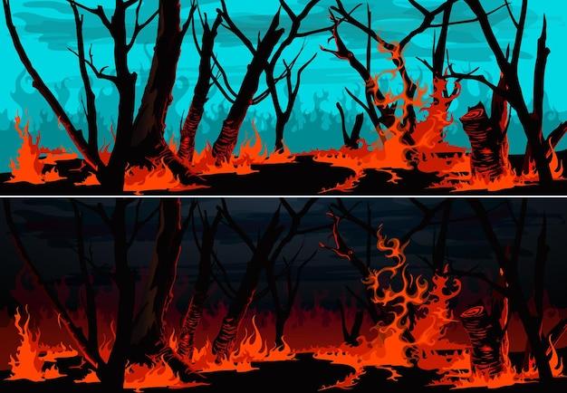 Pożar lasu z płonącymi banerami trawy i drzew. pożar w nocy lub pożar buszu w dzień