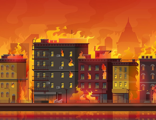 Pożar w mieście, płonące budynki na miejskiej ulicy. katastrofa