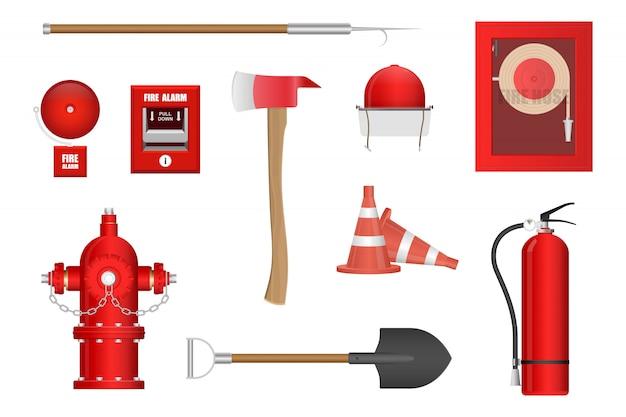 Pożarniczego wyposażenia ilustracja odizolowywająca na białym tle