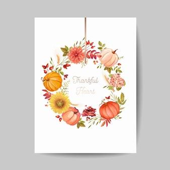 Pozdrowienie święto dziękczynienia, zaproszenie, ulotka, baner, szablon plakatu. jesienna dynia, kwiat, liście, elementy kwiatowy wzór. ilustracja wektorowa