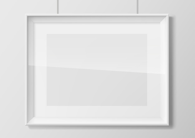 Pozioma biała ramka ze szkła