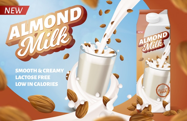 Pozioma etykieta mleka migdałowego do pakowania. wzbogacony napój dietetyczny