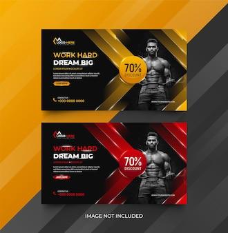Pozioma fitness siłownia social media szablon banera internetowego