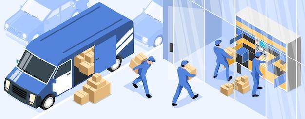 Pozioma ilustracja terminalu pocztowego z pracownikami pocztowymi ładującymi paczki z ciężarówki dostawczej