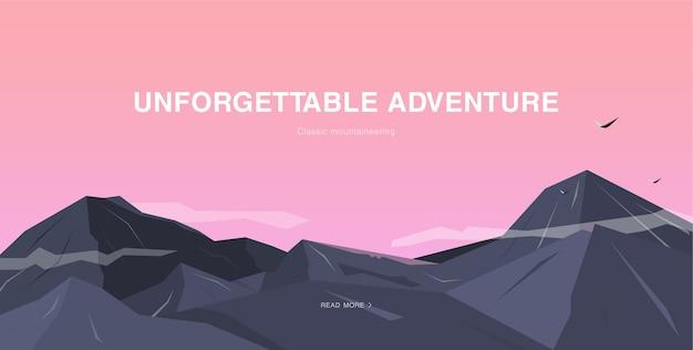 Pozioma ilustracja z górami i niebem