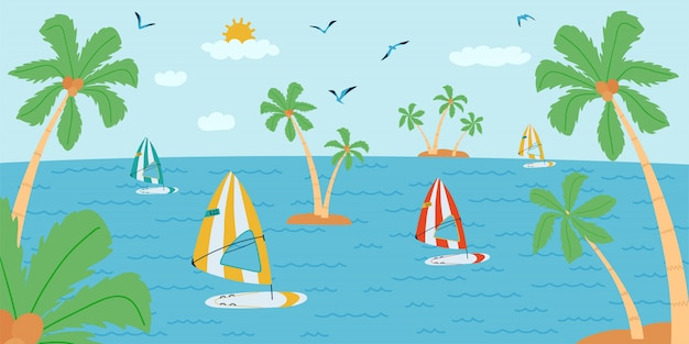 Pozioma ilustracja z krajobrazem w stylu płaski. czas letni z deską surfingową, palmą, łódką.