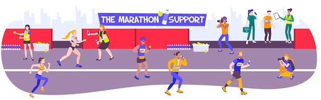 Pozioma kompozycja biegacza z widokiem na tor wyścigowy i postacie sportowców z lekarzem i jedzeniem