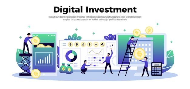 Pozioma kompozycja cyfrowej inwestycji z symbolami ekranów komputerowych z ilustracjami ludzi i tekstu