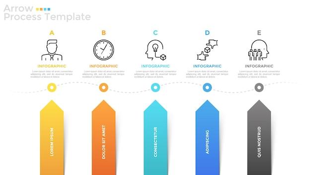 Pozioma oś czasu z 5 liniowymi ikonami, polami tekstowymi i kolorowymi strzałkami wskazującymi na nią. koncepcja pięciu kolejnych etapów rozwoju biznesu. szablon projektu plansza. ilustracja wektorowa.