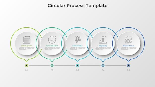 Pozioma oś czasu z 5 okrągłymi białymi elementami z papieru połączonymi linią. pięć kamieni milowych procesu rozwoju biznesu. szablon projektu realistyczny plansza. ilustracja wektorowa na pasku postępu.