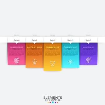 Pozioma oś czasu z pięcioma elementami. pięć kolorowych prostokątów z piktogramami w cienkich liniach, miejsce na tekst i wskazanie czasu ułożone w rzędy. szablon projektu plansza.