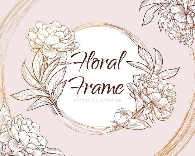Pozioma piwonia kwiat rama szablon zaproszenia ślubne ręcznie rysowane ilustracji wektorowych