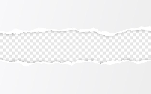 Pozioma podarta krawędź papieru. ripped kwadratowe poziome białe paski papieru.