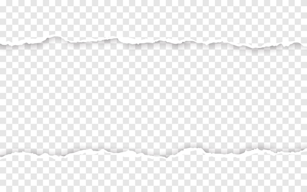 Pozioma podarta krawędź papieru. rozerwane, kwadratowe, poziome paski papieru.