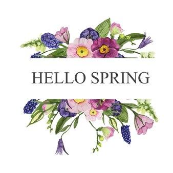 Pozioma rama akwarela z kolorowych wiosennych kwiatów
