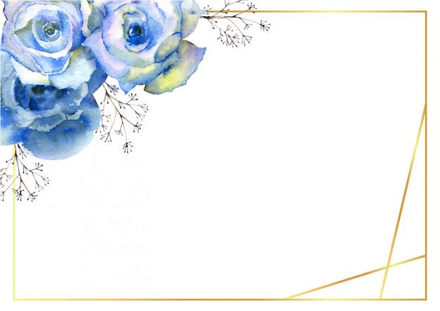 Pozioma rama z niebieskimi kwiatami róży i ozdobnymi gałązkami w złotej ramie na białym tle.