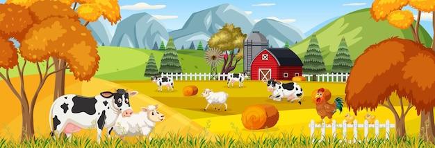 Pozioma scena krajobrazu rolniczego ze zwierzętami gospodarskimi