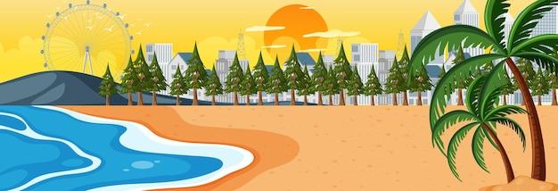 Pozioma scena na plaży o zachodzie słońca na tle pejzażu miejskiego