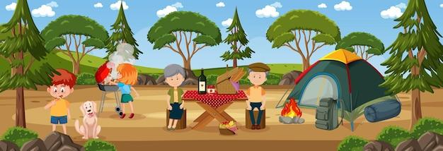 Pozioma scena na świeżym powietrzu z rodzinnym piknikiem w parku