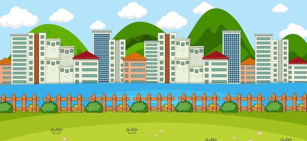 Pozioma scena z parkiem i pejzażem miejskim