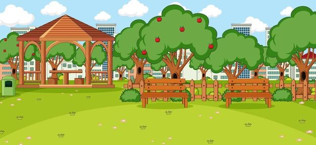 Pozioma scena z pawilonem w parku
