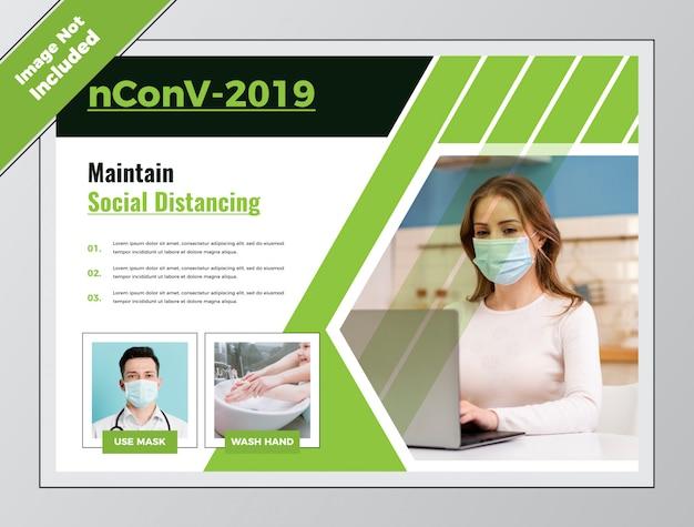 Pozioma ulotka covid health social distancing dla koronawirusa