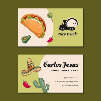 Pozioma wizytówka meksykańska żywności