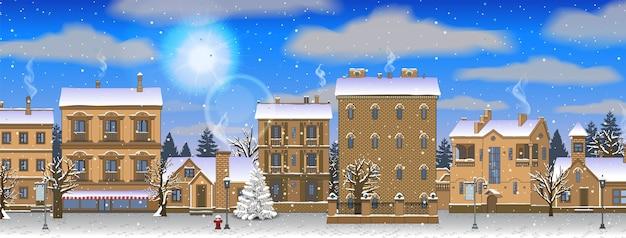Pozioma zima, boże narodzenie krajobraz miejski. słoneczny dzień, jasne niebo.