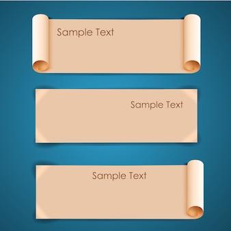 Poziome architektoniczne puste beżowe arkusze papieru banery ustawione