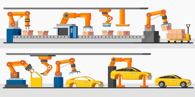 Poziome banery automatyki przemysłowej robot