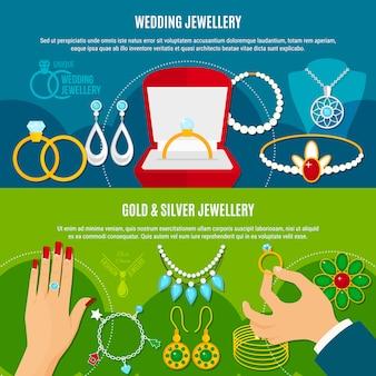 Poziome banery biżuterii ślubnej